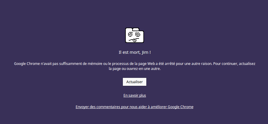Probleme de mémoire google chrome