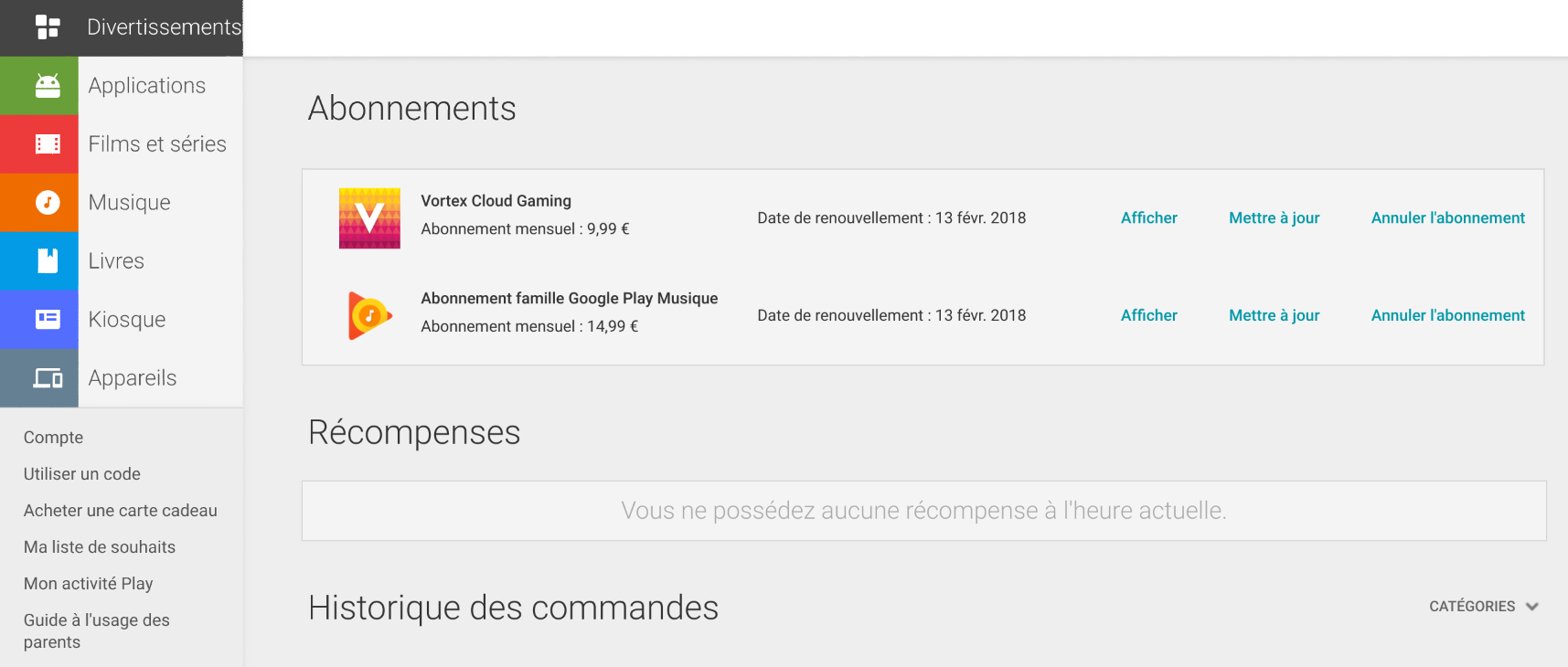 abonnement play store
